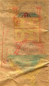 dessin de la maison retrouvée dans un cahier d'écolier de 1887