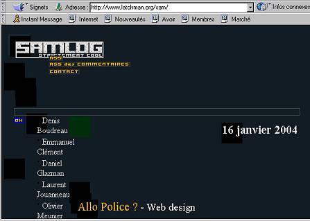 capture d'écran de la page de Sam avec NS4